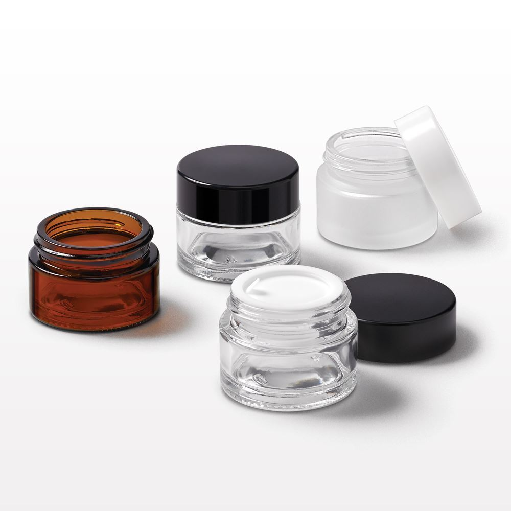 15 gram Thick Walled Glass Jar w/ Lined Threaded Cap & Disc Liner